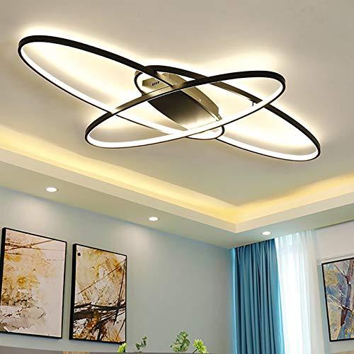 ZBL LED Wohnzimmerlampe Deckenleuchte Dimmbar mit Fernbedienung Modern Oval Design Esszimmerlampe Deckenbeleuchtung Esstischlampen Schlafzimmerlampe (Farbe : Schwarz, Größe : 95×65cm)