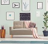 Pawnova Upholstered Mid Century Loveseat Sofa for Living Room, Modern Design Sofa with Tufted Back, Gray