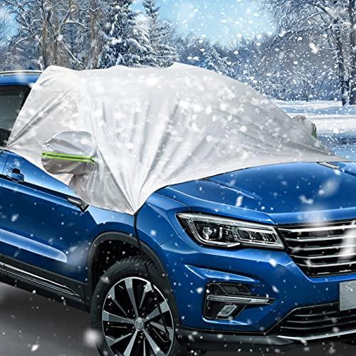 Favoto Auto Scheibenabdeckung Frontscheibe Schneeschutz Sonnenschutz Frontscheibenabdeckung Winter Halbgarage Eisschutz UV-Schutz Schrägheck Sänfte SUV