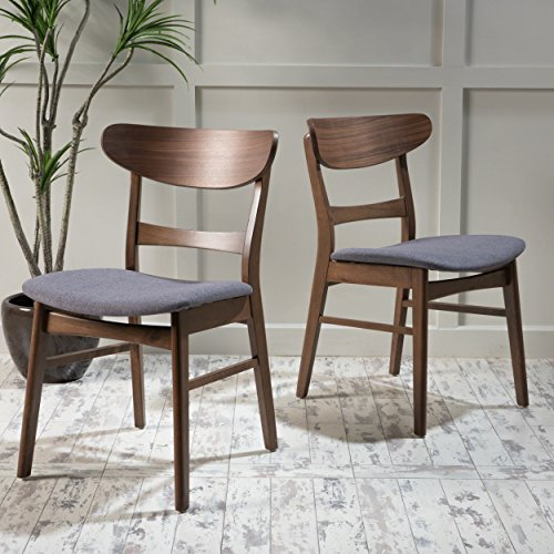 Christopher Knight Home Idalia Dining Chairs, 2-Pcs Set, Dark Grey / Walnut Finish