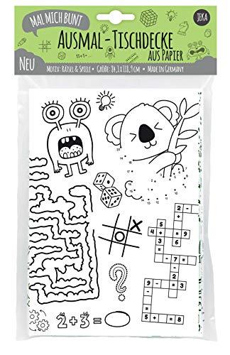 JEKA Papier-Tischdecke zum Ausmalen für Kinder, Rätsel-Tischdecke, Rätsel für Kinder, Rätselbuch XXL, Kinderbeschäftigung, Mal Mich Bunt