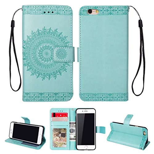 iPhone 5/5S/5SE hoesje PU lederen portemonnee reliëf Mandala bloem standaard Flip case credit card slot beschikt over beschermende DECHYI case, Portemonneehouder, Groen, iPhone 6/6s Plus (5.5