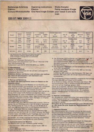 Bedienungs-Anleitung Elektro Einhand-Winkelschleifer 220 57/MSf 2201