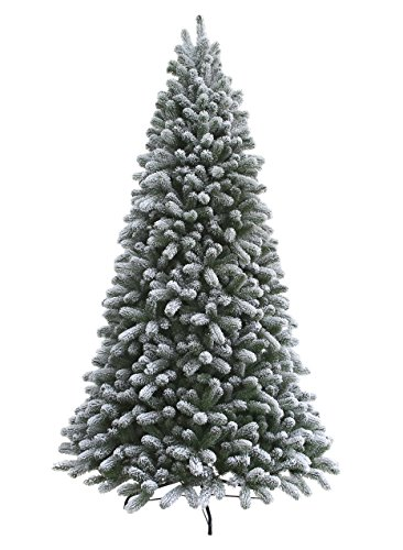 KING OF CHRISTMAS 7.5 Foot King Flock Christmas Tree Unlit, 52″ Wide