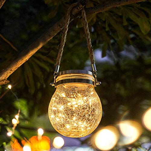 CANALO Solar Hanging Lights,30 LED Solar Lamps for Garden Decoration Crack Design Glass Jar Balcony Decoration Lantern Waterproof Solar Lamp for Party,warm light