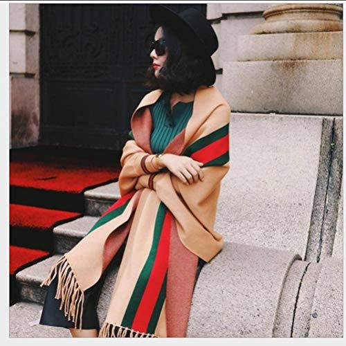 SLI-sjaal Herfst en Winter Jersey Sweater met Tassel Sjaal Sweater Losse Mantel Vrouwelijke Jas Verdikking, Camel, 200CM