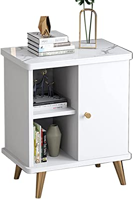 Coffee Table, Modern Minimalist Bedroom Bedside Table, Simple Small Apartment Living Room Side Table, Light Luxury Corner Cabinet-White_50*30 * 55cm