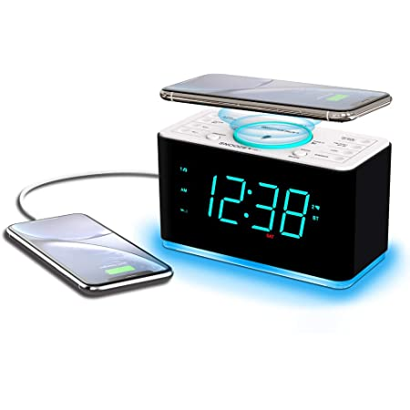 "Emerson Radio ER100401 Smartset Alarm Clock Radio, 15Watt Ultra Fast Wireless Charging Dual Alarm Clock Radio with Bluetooth Speaker, USB Charger, Cyan LED Night Light and 1.4"" Display"