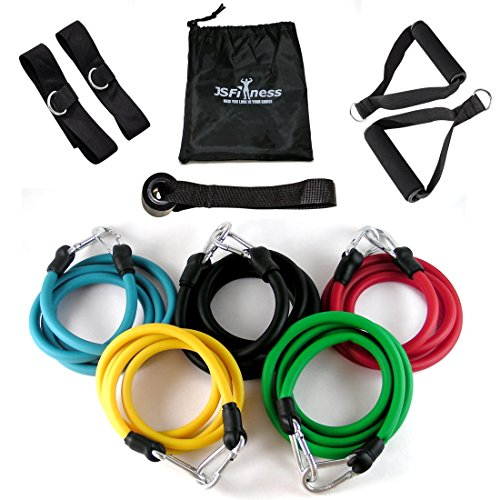 JS Fitness Resistance Band Set with Door Anchor,...