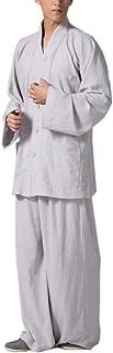 ZanYing Monk Meditation Clothing Sets Buddhist Men Casual Suits V-nek Shirt Wide Leg Pants