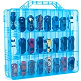 ASH BRAND Double Sided Toy Storage Container - Compatible with Mini Toys, Small Dolls, Hot Cars Wheels - Toy Organizer Carrying Case - 48 Compartments - Cars Not Included (Blue)