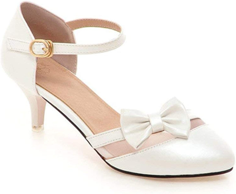 Gcanwea Women's Sweet Bowknot Ankle Strap Pointed Toe Closed Kitten Heel Sandals Easy to Match Fashion Antiskid Breathable Elegant Joker Durable Skinny Milky White 7.5 M US Sandals
