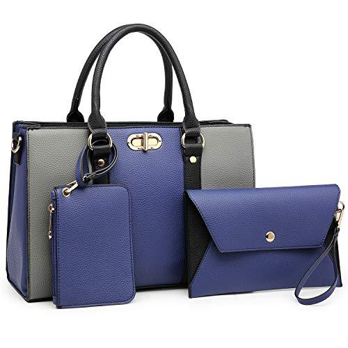 Women Handbags Top Handle Satchel for Ladies Vegan Leather Purse Wallet 3Pcs Set Shoulder Bag, 01-8010-Blue/Grey