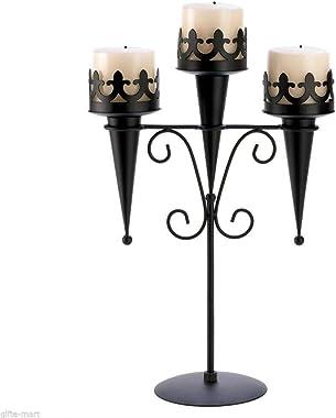 Regina Braga Set of 2 Medieval Torches Halloween Gothic Dungeon Castle Candle Holder Candelabra Props