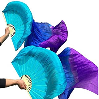 Nimiman Hand Made Women Silk Belly Dance Fan veils Turquoise Blue Purple