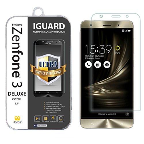 IBROZ ASUS ZenFone 3 (5,2') (ZE520KL) - Protector de Pantalla de Cristal Templado 9H - 0.33mm - iGUARD Premium Anti-Impactos y Rotura (Transparente)