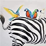 votgl Pintar por Numeros para Adultos Niños Loro y Trasero de Cebra Pintura por Números con Pinceles y Pinturas DIY Pintura al óleo Decoraciones para el Hogar Regalo 40x40cm Sin Marco