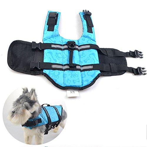 Zhang-Home Chalecos Salvavidas de los Perros, Chaleco Salvavidas del ahorrador del Animal doméstico, Chaleco Flotante del Perro, Chaleco Salvavidas Exterior del Perro, S (Azul)