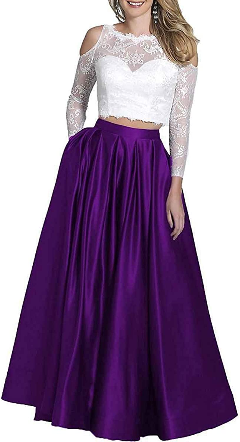 CCBubble Womens Two Piece Satin Prom Dresses Long Sleeves Lace Evening Formal Party Ball Gowns with Pockets