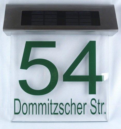 Schmalz® LED Solar Hausnummer mit integriertem Dämmerungsschalter - wetterfest & neigungsverstellbar & personalisiert - Made in Germany - in verschiedenen Farben Hausnummernleuchte Edelstahl Acrylglas mit individueller Beschriftung
