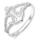 MunkiMix 925 Plata 13mm Anillo Ring Cz Cubic Zirconia Circonita El Tono De Plata Ancla Náutico Cuerda Talla Tamaño 20 Mujer