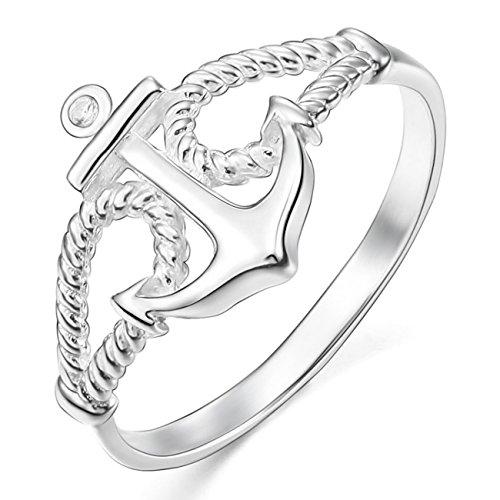 MunkiMix 925 Sterling Silber 13mm Ring CZ Zirkon Zirkonia Silber Ton Anker Segeln Nautisch Seil Größe 52 (16.6) Damen