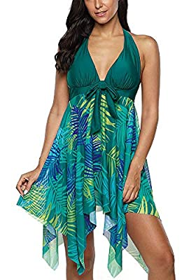 Shaoroua Modest Swimsuits Halter Tankini Dress Mesh Printed Two Piece Bathing Suits Swimwear, 1-green, Large
