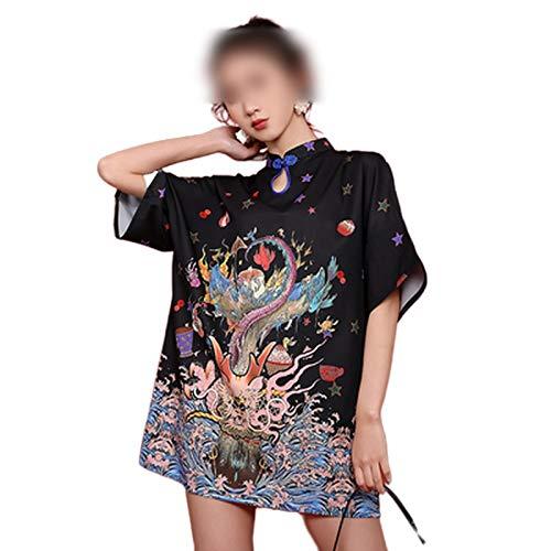 who-care 2020 Vestido chino de las mujeres de la moda de impresión qipao vestido femenino de manga corta mejorado Cheongsam negro sexy mini vestido moderno Qipao