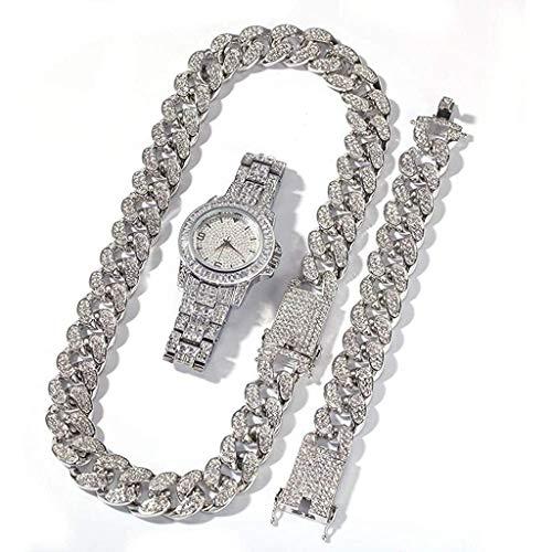 ldl-Hip Hop Set de 3 Piezas, Relojes de Hielo for Hombres y Mujeres, Relojes Bling-ed, Relojes de Plata de Cristal de Plata, Relojes de Pulsera