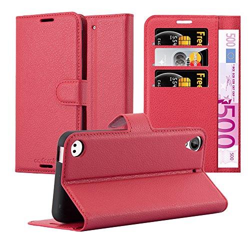 Cadorabo Hülle für HTC Desire 530/630 - Hülle in Karmin ROT – Handyhülle mit Kartenfach & Standfunktion - Hülle Cover Schutzhülle Etui Tasche Book Klapp Style