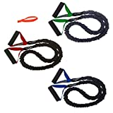 3 FIT CORD Covered Resistance Bands with PADDED HANDLES, NYLON SAFETY SLEEVE & PREMIUM LATEX...