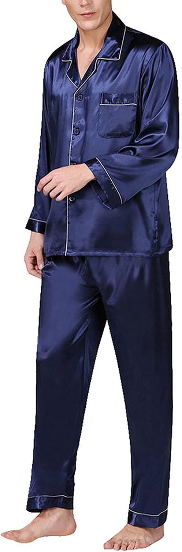 Men Stain Silk Pajama Set Sleepwears Sexy Soft Homme Cozy Satin Nightgown Casual Lounge Nightwear