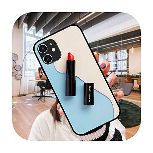 Funda del teléfono para iPhone 12 Mini 11 Pro XS MAX XR X 8 7 6S 6 Plus negro cubierta cubierta moda impermeable elegante lápiz labial Girl-G2-iPhone 12 Pro