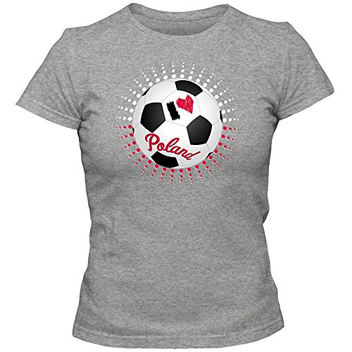 Polen WM 2018#6 T-Shirt | Fußball | Bialo-Czerwoni | Damen | Trikot | Nationalmannschaft, Farbe:Graumeliert (Grey Melange L191);Größe:L