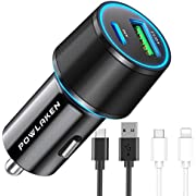 USB C Car Charger, Total 36W Dual Type C PD Car Charger with 18W PD & QC 3.0 Fast Car Charger Adapter for iPhone 12/12 Pro Max/11Pro/11/Samsung/iPad and More(USB A to C & Cable for iPhone Included)