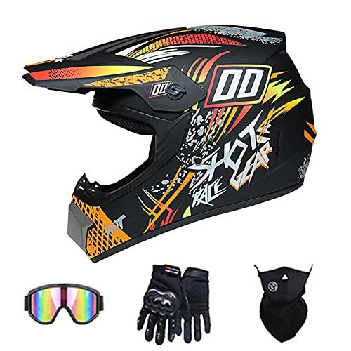 Adult DOT Certified Motocross Full Face Helmet motorbike Backflip helmet Dirt Bikes helmets DH motorcycle helmet for ATV MX MTB Rally Off-road Pit bike (Orange street),59~60cm XL