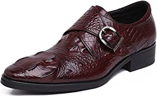 Mens Wedding Dress Shoes,Classic Monk Shoes Hasp Business Leather Shoes,Brown- 39/UK 6.5/US 7