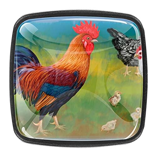 Tiradores cajón cristal 4 piezas perillas gabinete,granja chica gallo gallina ,para puerta cocina escritorio tocador