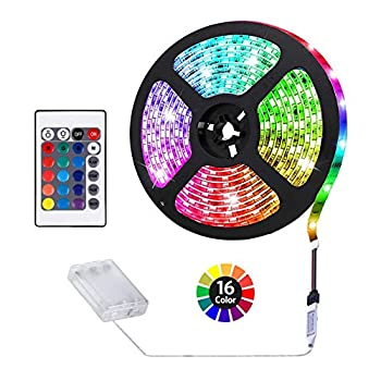 Battery Powered LED Strip Lights, Remote Controlled Multi-Color Changing DIY Indoor and Outdoor Decoration 6.56ft/2M