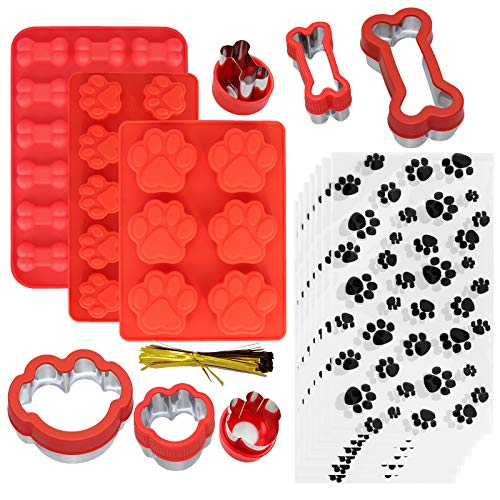 Shxmlf Dog Treat Molds, Silicone puppy Paw and Bone Mold,Stainless Steel Dog Bone Cookie Cutters, with 100 Pcs Dog treat bags, Ice Cube Jelly, Biscuits, Chocolate, Candy,Cake ,Dog treats Baking Mold