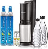 SodaStream Aqua Fizz Sparkling Water Maker Bundle (Black), with Co2, Glass Carafes, & 0 Calorie Fruit Drops Flavors