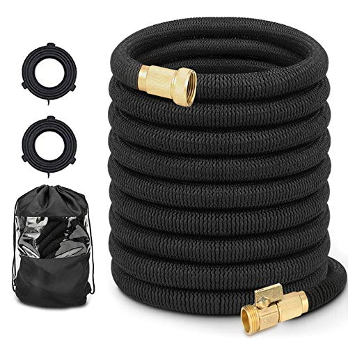 Hermard Expandable Garden Hose 50ft, Flexible Water Hose with Solid Brass Connector, Super Durable Fabric Car Wash Hose, Leakproof Lightweight Expanding Pipe for Watering and Washing …
