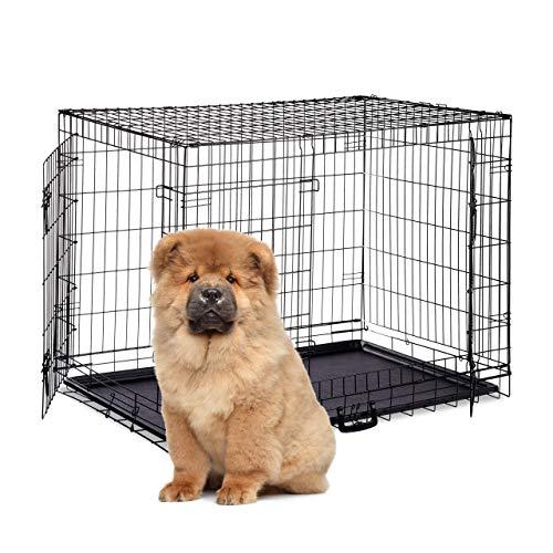 Relaxdays Hundekäfig faltbar, Hundetransportbox Auto, Welpenkäfig, 2 Türen, Bodenschale, Drahtkäfig Metall, XXL, Schwarz