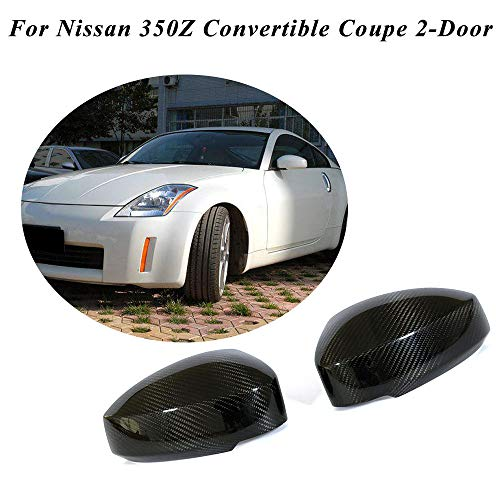 JC SPORTLINE fits for Nissan 350Z 2-Door 2003-2009 Add on Real Dry Carbon Fiber Mirror Covers Caps