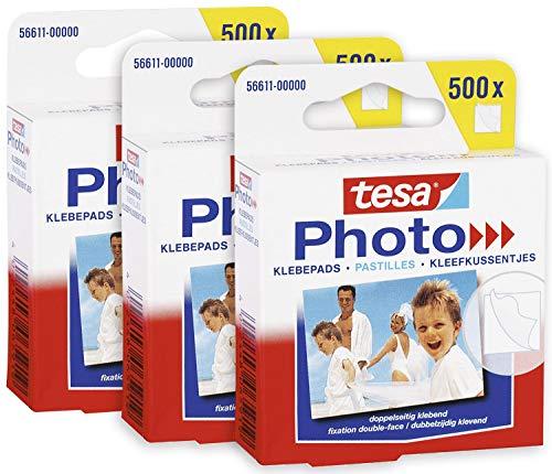 tesa Pastilles Adhésives Photos en lot de 3 - Pastilles Double Face pour Album Photos - 3 Paquets de 500 = 1500 Pièces