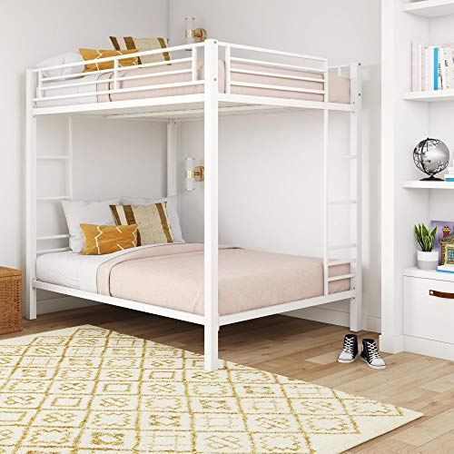 DHP Full over Full Bunk Bed for Kids, Metal Frame with Ladder (White)
