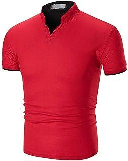 Polo Shirts Men Summer Mandarin Collar Short Sleeve Shirt Clothing Tops Cotton Slim Solid Color Casual Golf Rugby T Shirt ...