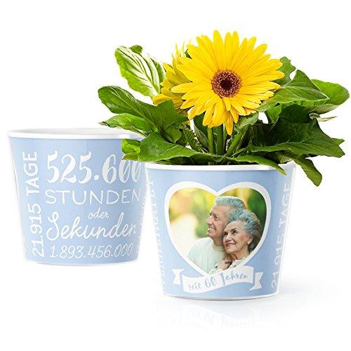 Facepot Diamantene Hochzeit – Blumentopf (ø16cm) | Deko Geschenk zum 60. Hochzeitstag oder Diamanthochzeit mit Herz Bilderrahmen für 1 Foto (10x15cm) | Glücklich Verheiratet - 60 Jahre