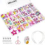 MELLIEX 500 Piezas Niños Bricolaje Conjunto de Cuentas para Hacer Joyas, Cadena de Cuentas de Artesanía Acrílica para Collares Pulseras Cabello