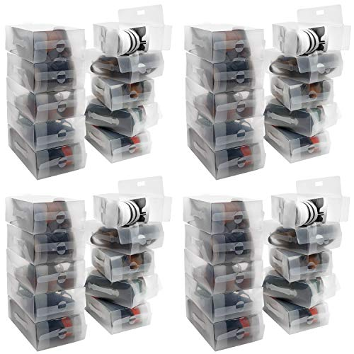 Kurtzy Caja Zapatos Plástico Transparente (Pack de 40) Apto para Zapatos de Mujer, Hombres y Niños - Organizador de Zapatos Plegable, Corrugado y Apilable para Viajes y Almacenaje